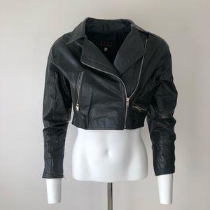 Cropped vintage leather moto jacket